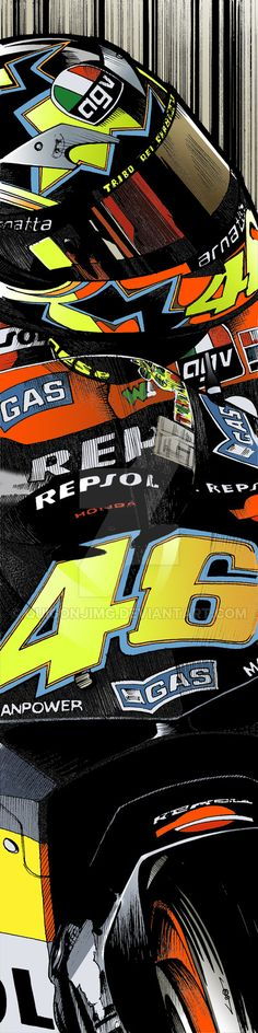 First in a series of Moto GP and Superbike prints I'm currently working on, this one being Valentino Rossi riding the 2003 Repsol Honda. Valentino Rossi Logo, Valentino Rossi Yamaha, Pink Motorcycle, Motorcycle Helmet Design, Motorcycle Stickers, Motogp, Moto Wallpapers, Gp Moto, Agv Helmets