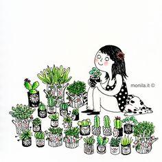 Monila,Monila handmade,illustrazione,piante,vasi,