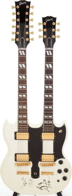 1991 Gibson EDS-1275 Arctic White Solid Body signed by Robert Plant and Jimmy Page of Led Zeppelin