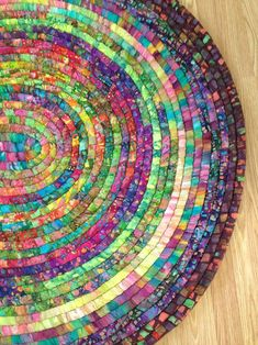 Discover thousands of images about Handcrafted Coiled Batik Rug Crochet Rug Patterns, Crochet Rugs, Braided Rag Rugs, Rag Rug Tutorial, Diy Braids, Fabric Strips, Clothes Crafts, Rug Making, Craft Making