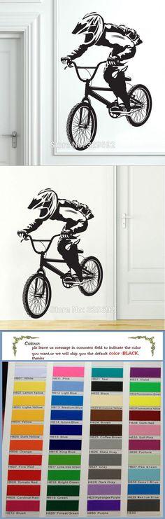 Free shipping BMX Bike Bicycle Biker Boys Wall Decal Vinyl Home Decor Wall Stickers Vinyl Mural tx-098 $7.99