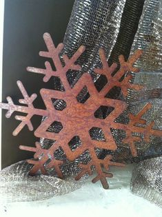 Rustic Metal Snowflake Ornament Large by wiresandstones on Etsy, $20.00