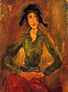 chaïm soutine(1894-1943), woman in green, c. 1919. oil on canvas, 73 x 54 cm. private collection http://www.the-athenaeum.org/art/detail.php?ID=56621