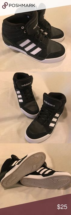 Adidas Neo Label black and white hi-tops In nearly as New condition as only worn twice and realized a little snug on toes. Monochrome classics. Adidas Shoes Sneakers