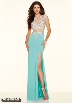Prom dresses by Paparazzi Prom Beaded Net and Jersey Zipper Back Closure. Colors Available: Aqua, Ivory