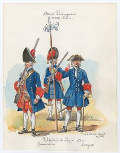 Line Infantry, Grenadiers & Sergeant, 1730 by Louis Beaufort Seven Years' War, 18th Century Clothing, Military History, Portuguese, Troops, Medieval, Army, Military Uniforms, Painting
