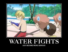I see Tamaki brought his game face. High School Host Club (need to do this with my best friends ^_^) Colégio Ouran Host Club, Ouran Highschool Host Club, Host Club Anime, High School Host Club, I Love Anime, Awesome Anime, Grimgar, Water Fight, Demotivational Posters