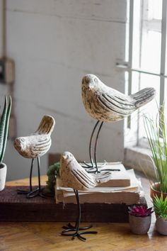 Kalalou Clay Birds With Rustic Copper Legs - Set Of 3