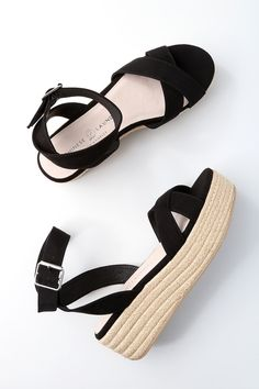 "No look would be complete without the Chinese Laundry Zala Black Suede Espadrille Flatform Sandals on your feet! Soft faux suede covers crisscrossing toe straps, paired with a wrapping, adjustable ankle strap (and gold buckle). 1.75"" toe platform."