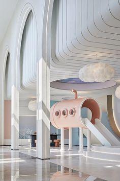 Commercial Interior Design, Commercial Interiors, Exterior Design, Interior And Exterior, Kids Cafe, Kindergarten Design, Futuristic Interior, Cafe Interior, Kid Spaces