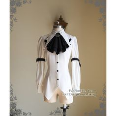 Steampunk Batwing Collar Shirt Blouse Jabot Chains Belts Set White... ❤ liked on Polyvore featuring tops, blouses, black and white collar shirt, chain shirt, gothic shirts, black and white blouse and steampunk blouse