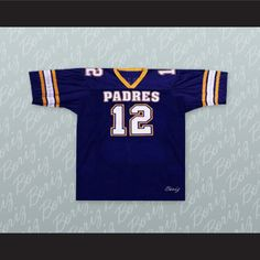 """Tom Brady 12 Junipero Serra Padres High School Football Jersey. I HAVE ALL SIZES and can change Name and Number(Width of your Chest)+(Width of your Back)+ 4 to 6 inches to account for space for a loose fit.Example: 18"""" wide chest plus 18"""" wide back plus 4"""" of space, would be a size 40"""".Please consider ordering a larger size, if you plan to wear protective sports equipment under the jersey.size chart chest:XS 30""""-32"""" Chest Measurement (76-81 cm)S 34""""-36"""" Chest Measurement (86-91 cm)M 38""""-40""""…"""