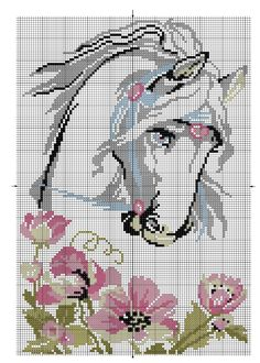 Cross-stitch Horse & Flowers... no color chart, just use pattern chart colors as your guide.. or choose your own colors....   Points de croix *