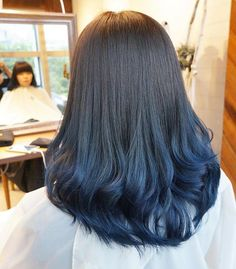 Ideas For Hair Goals Ombre Balayage Highlights Hair Color For Black Hair, Ombre Hair Color, Hair Color Balayage, Cool Hair Color, Ash Blue Hair, Balayage Highlights, Blue Hair Highlights, Black Balayage, Blue Ash