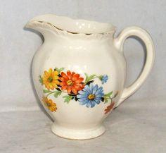 Vintage Homer Laughlin floral pitcher. Vintage Dishes, Vintage Kitchen, Milk Jugs, Homer Laughlin, Antique China, Kitchen Items, Vintage Flowers, Aprons, Cutlery