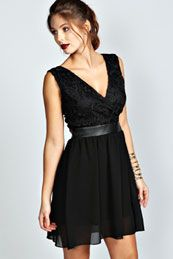 Amy Crochet Lace Cross Over Top Skater Dress from boohoo.co.nz