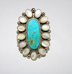 Spectacular Navajo Sterling Silver Dry Creek Turquoise Mother or Pearl Cluster Statement Ring Size 7.5 by Collectible Jason Livingston