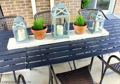 Outdoor Dining Table - get one BIG table from 3 small inexpensive ones