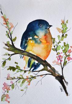 ORIGINAL Aquarell Vogel in einem Baum Gemälde von ArtCornerShop