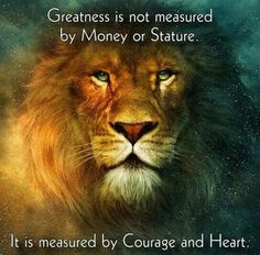 Greatness is not measured by Money or Stature. It is measured by Courage and Heart.