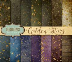 Gold Star Digital Paper by Origins Digital Curio on @creativemarket