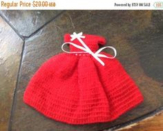 XmasGifts Red hand crocheted doll dress vintage mint red
