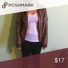 Leather jacket Charlotte Rousse Faux leather. Brown. Keeps you warm. Looks good with jeans and light scarf! charolette russe Jackets & Coats