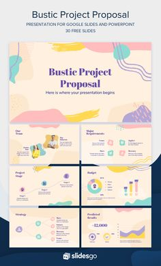 Present your Project Proposal with this Memphis Google Slides theme and PowerPoint presentation. It's completely editable and free!