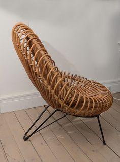 Franco Albini; Bent Rattan and Painted Metal Chair, 1960s.