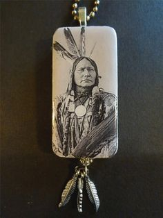 Indian Chief Domino Pendant with Feather Charms   Domino Jewelry Pendant Native American item 1707. $11.95, via Etsy.