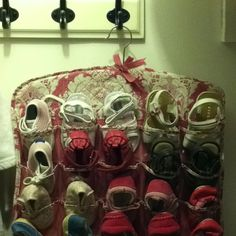 Great idea for baby shoes... These are available at home goods and advertised as jewelry storage!