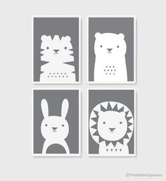 A3 art printables download Nursery Art Set of 4 Cute Animal Poster monotone Baby room Child room decor for kids gray and white color by PrintableSopoomc on Etsy https://www.etsy.com/listing/240690610/a3-art-printables-download-nursery-art
