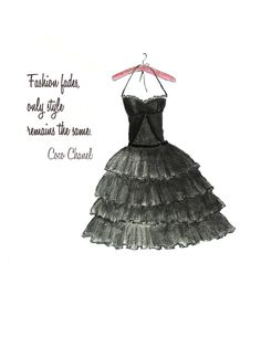 This is a print from my original hand drawn watercolor fashion illustration of a black strapless dress with ruffles. It reads: Fashion fades only style Fashion Illustration Chanel, Illustration Mode, Illustrations, Watercolor Dress, Watercolor Fashion, Watercolor Tips, Teen Wall Art, Chanel Quotes, Black Ruffle Dress