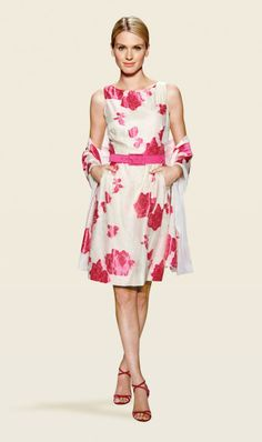 VERONIQUE ivory and fuchsia pink dress and scarf | Carlisle Spring 2014 Collection