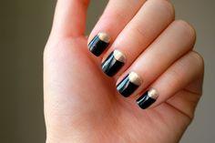 Gold half moon nail polish (black + gold nails)