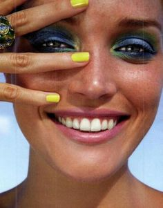 Ocean coloured make-up - love the yellow nails!