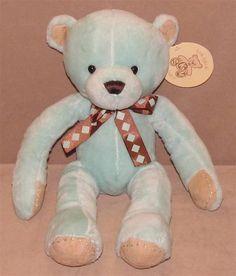 """14"""" SKM Enterprises Mint Green Tan Plush Teddy Bear Stuffed Brown Diamond Bow #SKMenterprises"""