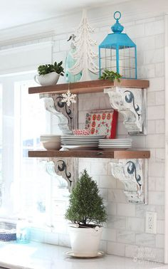 Pretty Handy Girl's Holiday Home Tour 2015---fabulous shelves decorated for Christmas.