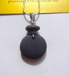 Sweet Round Lake Superior Zen Stone Pebble Pendant Necklace Heather Grey. $24.00, via Etsy.