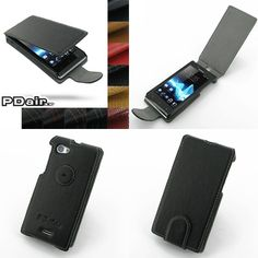 PDair Ultra Thin Leather Case for Sony Xperia J ST26 - Flip Type (Black)