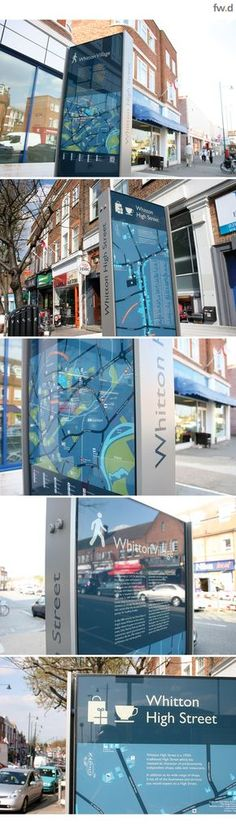 Signage design for Whitton High Street by fwdesign. On-street retail map and directory that promotes the whole offer on the high street, including connections to local transport, carparks and local destinations.