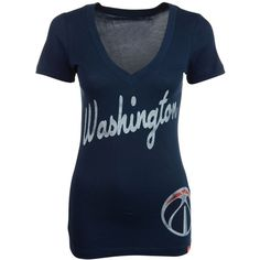 Sportiqe Women's Short-Sleeve Washington Wizards V-Neck T-Shirt ($14) ❤ liked on Polyvore featuring tops, t-shirts, navy, t shirts, v neck t shirts, vintage shirts, short sleeve shirts and blue t shirt