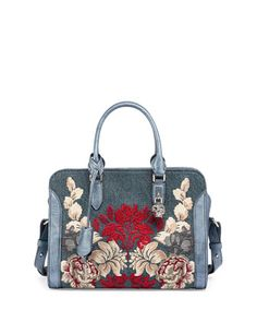 Padlock Small Denim Satchel Bag w/Floral Embroidery by Alexander McQueen at Neiman Marcus.
