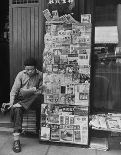 Newsstand in Shanghai, China, 1947. (Photo credit: Mark Kauffman / LIFE photo archive)