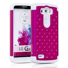 Fosmon HYBO-SD Diamond Star Design Hybrid Case for LG G3 [All carriers] - Retail Packaging (Hot Pink/White):Amazon:Cell Phones & Accessories