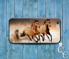 iPhone 4 4 s 5 5 s 5c SE 6 6 s 7 plus iPod Touch 4ème 5ème 6ème Gen belle lumière foncé brun chevaux en cours d'exécution téléphone mignon Custom Animal housse