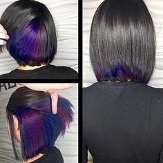 New Hair Color Unique Hidden Ideas Underlights Hair, Short Hair Styles, Natural Hair Styles, Hair Color Purple, Color Red, Magenta Hair, Burgundy Hair, Blue Ombre, Subtle Purple Hair