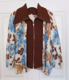 NEW Free People Cardigan Layer Sweater Angora Women's M Medium Brown Blue Floral #FreePeople #Cardigan