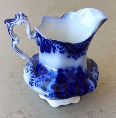 Vintage Flow Blue Florida Royal Pitcher By Johnson Brothers Made in England #JohnsonBrothers
