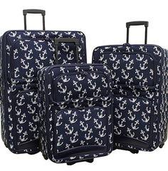 3-Piece Anchor-Print Luggage Set (Navy & White) - Angela Miller Designs